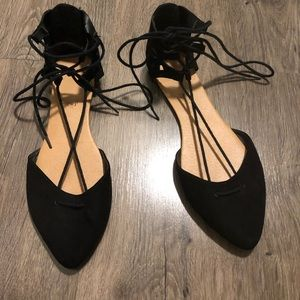 Black Strapped Flat Point Toed Shoes